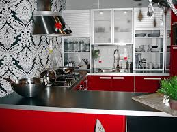 Kitchen Wallpaper Backsplash Red Polkadot Wallpaper White Island Chairs Sink And Faucet Brown