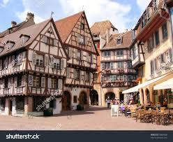 picturesque square alsatian city colmar france stock photo
