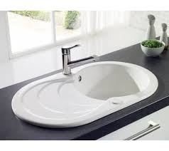 Leighton Circular Kitchen Sink  Waste  Bowl Ceramic White - Ceramic white kitchen sink