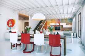black metal chandelier modern red dining room beige painted wall