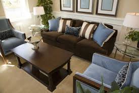 brown and blue living room decor with dark brown sofa home
