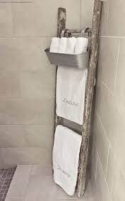 best 25 towel basket ideas on pinterest brown bath towels diy whimsy girl design master bathroom old rustic ladder used as towel rack with galvanized