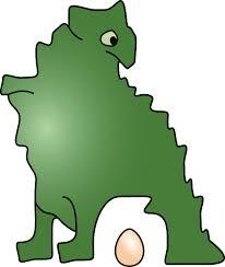 A dinosaur.  Who laid an egg.