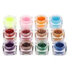 12 colors professional glitter powder uv gel nail art gel sales