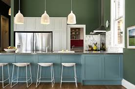Painting Kitchen Cabinets Blue Blue Green Cabinets Usashare Us