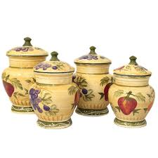 amazon com tuscan collection deluxe hand painted 4 piece kitchen amazon com tuscan collection deluxe hand painted 4 piece kitchen canister set cookie jars kitchen dining