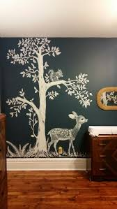 best 25 kids murals ideas that you will like on pinterest kids woodland nursery hand painted woodland nursery mural inspired by vintage fabric mural