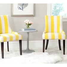 Safavieh Dining Room Chairs by Safavieh Lester Yellow And White Linen Blend Dining Chair Set Of