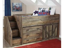 signature design by ashley trinell loft bed with stairs and drawer