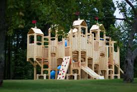 Cedar Playsets Furniture Wooden Playsets With Double Slider And Climber For Kids