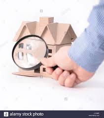 House Architectural House Architectural Model Under Magnifying Glass Stock Photo