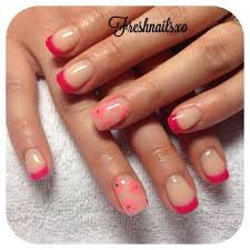 pink tips gel flower nails spring nails nueva
