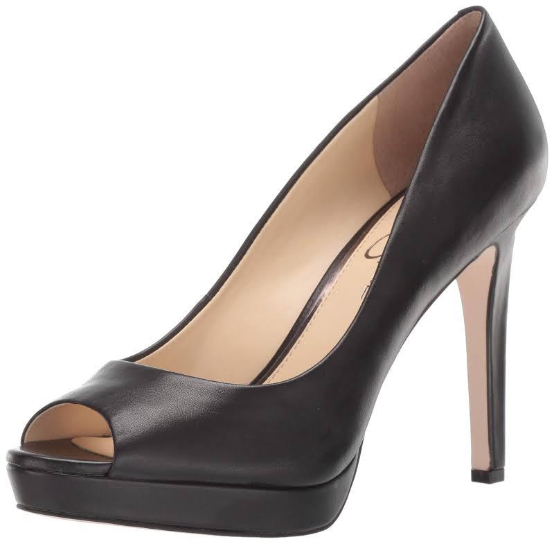 Jessica Simpson Dalyn Leather Dressy Peep-Toe Heels Black 10 Medium (B,M)