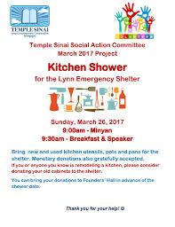 Donate Kitchen Cabinets Temple Sinai Social Action Kitchen Shower U2013 Temple Sinai
