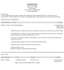 Resume Examples  Customer Service Representative Objective Resume With Professional Experience As Sales Representative And Education     Rufoot Resumes  Esay  and Templates