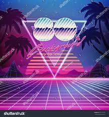 80s retro scifi background summer landscape stock vector 561737752
