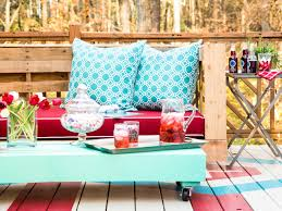 Where To Buy Patio Cushions by How To Make Stylish Outdoor Pallet Seating Hgtv