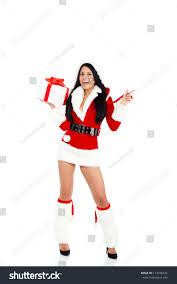beautiful woman wear santa clause stock photo 114378334