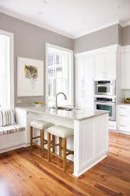 49 best kitchen ideas images on pinterest kitchen home and sherwin williams paint color requisite gray i love the grey walls with the warm wood floor and the white cabinets and bright light for a kitchen or any