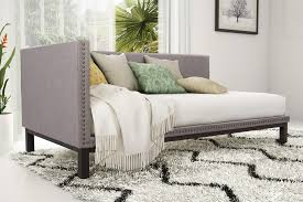 Linen Daybed Dorel Home Furnishings Mid Century Grey Linen Upholstered Modern