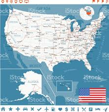 Unite States Map by United States Map With Flag Main Roads States And Cities Stock