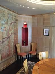 interior design ideas from the saarinen house at cranbrook time then they repeated the octagonal pattern in a square rug which has a design that resembles snow drifts outside a round ceiling dome the light fixture