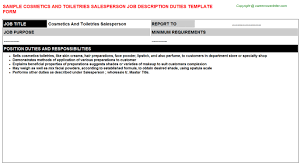 Cosmetics And Toiletries Salesperson Job Title Cosmetics And Toiletries Salesperson Job Description