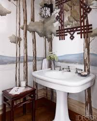 Powder Room In French 15 Bathroom Wallpaper Ideas Wall Coverings For Bathrooms Elle