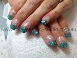 gel nails colour nails glitter nails glitter french crystals