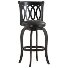 Modern Kitchen Chairs Leather Brown Glossy Wooden Swivel Bar Stools With Backs On Chrome Base Of