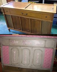 before and after pics repurposing a vintage stereo cabinet into a