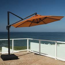 Offset Patio Umbrella by Shop Rst Brands Tikka Orange Offset Patio Umbrella Common 10 Ft