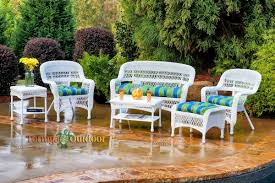 White Resin Wicker Outdoor Patio Furniture Set - portside 6 piece seating set tortuga outdoor coastal white
