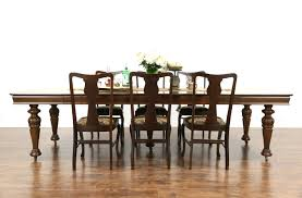 square oak antique 1900 dining table 6 leaves extends 9 u0027 9