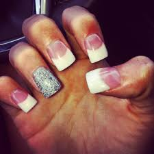 white powder tips with silver glitter accent nail nails with