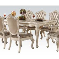 Acme Furniture Dining Room Set Chantelle Rectangular Dining Table With Marble
