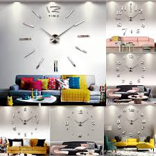 fashion large diy wall clock home decor 3d mirror sticker big