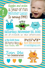 1st Year Baby Birthday Invitation Cards Best 25 Monster Party Invites Ideas On Pinterest Monster