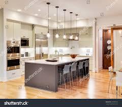 Kitchen Interior Photo Kitchen Interior Island Sink Cabinets Hardwood Stock Photo
