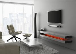 Wall Hanging Shelves Design Wide Screen Tv On White Painted Wall Over Rectangle Dark Brown