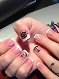 french tip with design anchor nails nails by vicky pinterest