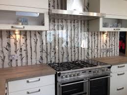 Wallpaper For Backsplash In Kitchen Clear Glass Splashback With Great Effect Wallpaper Behind