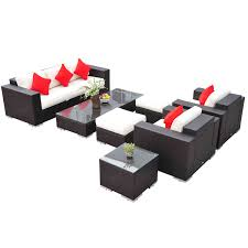 Patio Furniture Set Outsunny 7 Piece Pe Rattan Sofa And Chair Patio Furniture Set