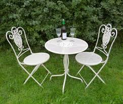 Cast Iron Patio Set Table Chairs Garden Furniture - antique white wrought iron 3 piece bistro style garden patio
