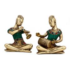 Brass Home Decor by Brass Coral Musical Lady Pair Statue Ethnic Tribal Home Decor