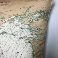 Thousand Islands Map Thousand Islands Vintage Nautical Chart Pillow 0 Lake Ontario To