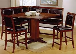 Amazoncom Pc Counter Height Dining Table  Stools Set Dark - Counter height kitchen table