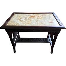 Marble Aesthetic Aesthetic Movement Ebonized Center Table With Figurative Marble