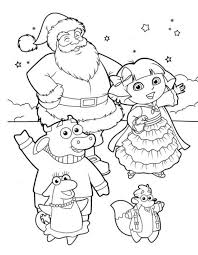 dora the explorer coloring pages for kids for christmas free