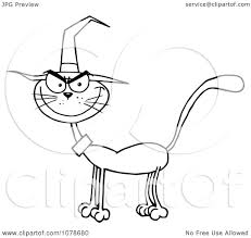 clipart outlined halloween cat wearing a witch hat royalty free